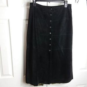 Bebe Long Black Suede Leather Skirt